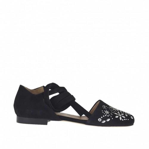 Escarpin ouvert pour femmes avec lacet et goujons en daim noir talon 1 - Pointures disponibles:  32, 33
