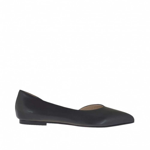 Woman's open shoe in black leather heel 1 - Available sizes:  46