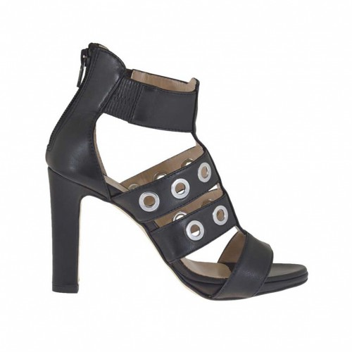 Woman's high-fronted open platform shoe with studs and zipper in black leather heel 9 - Available sizes:  42, 43