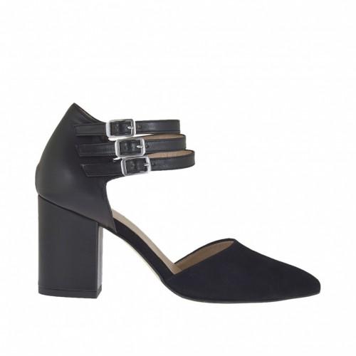 Chaussure ouvert pour femmes avec courroies en daim et cuir noir talon 7 - Pointures disponibles:  45