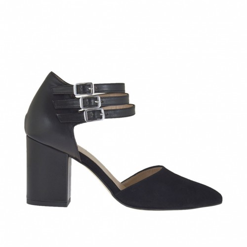 Woman's open shoe with straps in black suede and leather heel 7 - Available sizes:  45