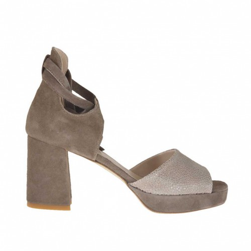 Woman's open shoe with laces and platform in taupe suede and laminated printed suede heel 7 - Available sizes:  43
