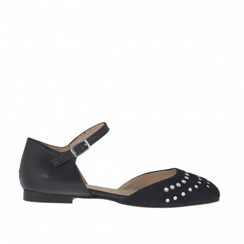 Woman's open shoe with strap and studs in black leather and suede heel 1 - Available sizes:  33, 46