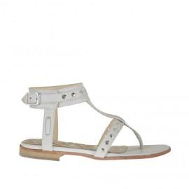 Sandalo infradito da donna con borchie e cinturino in pelle bianca tacco 1 - Misure disponibili: 45