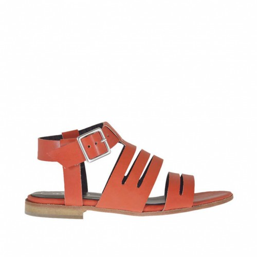 Woman's strappy sandal with strap buckle in orange leather heel 1 - Available sizes:  33, 45