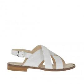 Sandalo da donna a fasce incrociate con cinturino in pelle laminato bianco tacco 1 - Misure disponibili: 33, 34, 45