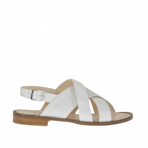 Woman's sandal with crossed straps in laminated white leather heel 1 - Available sizes:  33, 34