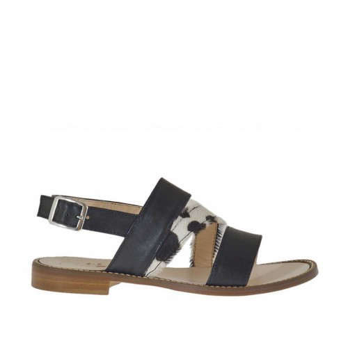 Woman's sandal with straps in black leather and horse leather heel 1 - Available sizes:  33