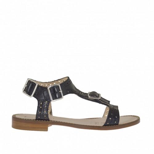 Sandale pour femmes avec boucle et courroies en cuir perforé noir talon 1 - Pointures disponibles:  33, 42, 44