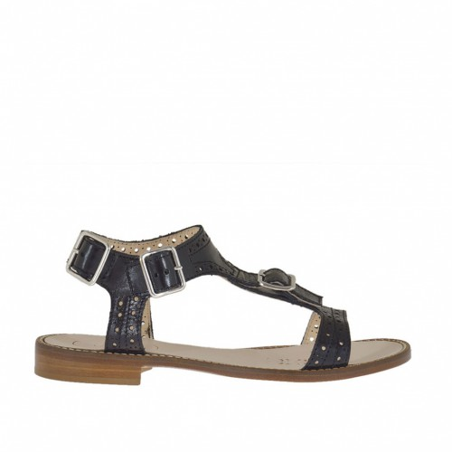 Woman's sandal with buckles and straps in pierced black leather heel 1 - Available sizes:  42