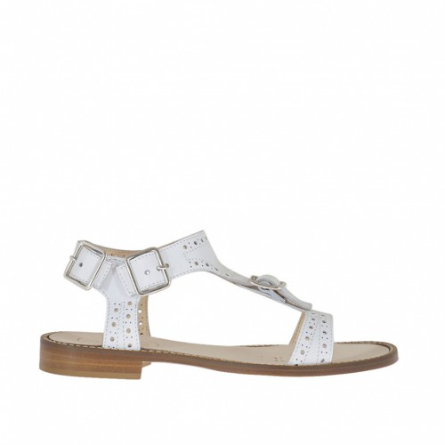 Woman's sandal with buckles and straps in pierced white leather heel 1 - Available sizes:  42