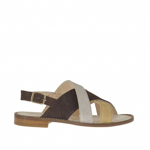 Woman's sandal with corssed straps and strap buckle in dark brown, sand and grey suede heel 1 - Available sizes:  44