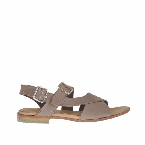 Sandale pour femmes avec bandes croisées et double courroie en cuir taupe talon 1 - Pointures disponibles:  44