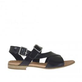 Sandalo da donna con fasce incrociate e doppio cinturino in pelle nera tacco 1 - Misure disponibili: 42, 43, 44, 45