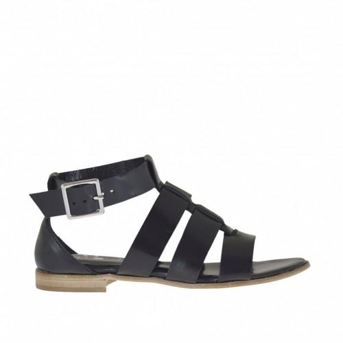 Chaussure ouvert pour femmes avec courroie et bandes en cuir noir talon 1 - Pointures disponibles:  33