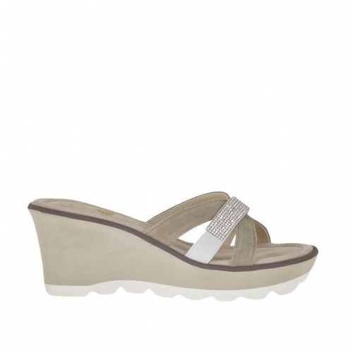 Woman's open mules with bands, strass and platform in white leather and sand suede wedge heel 7 - Available sizes:  42