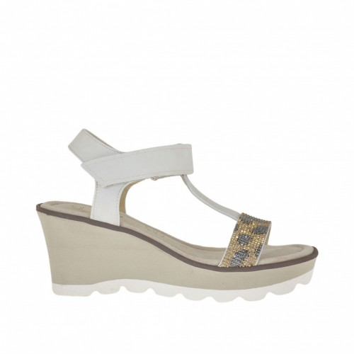Woman's sandal in ice-colored nubuck leather with velcro strap, colored strass, platform and wedge 7 - Available sizes:  43