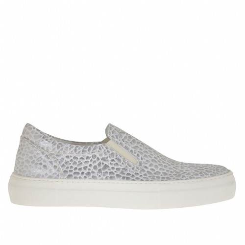 Woman's slip on shoe with elastic bands in silver printed laminated leather wedge 3 - Available sizes:  45