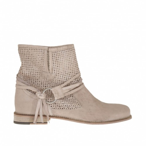Woman's ankle boot with removable strap in sand leather and pierced leather heel 2 - Available sizes:  45