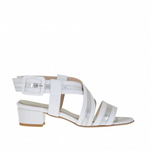 Sandale pour femmes avec bretelles en cuir blanc et cuir lamé argent talon 3 - Pointures disponibles:  46