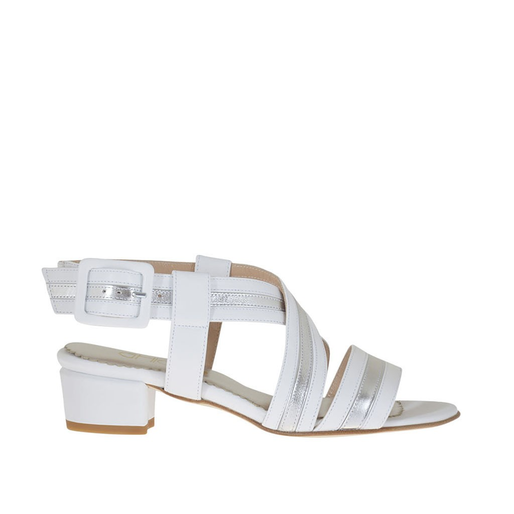 49d408cb12f0 Woman s strappy sandal in white leather and laminated silver leather heel 3  - Available sizes  Loading zoom