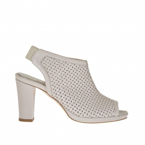 Woman's high-fronted sandal with back elastic and platform in pierced beige leather heel 8 - Available sizes:  31