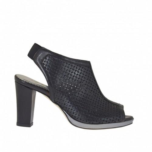 Sandale fermée pour femmes avec elastique postérieur et plateforme en cuir perforé noir et bronze à canon talon 8 - Pointures disponibles:  31