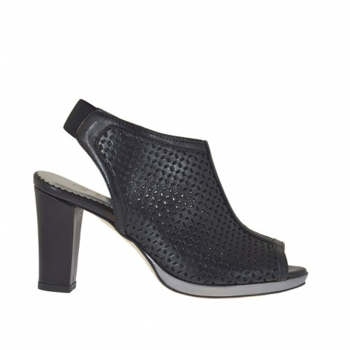 Woman's high-fronted sandal with elastic and platform in pierced black leather and gunmetal leather heel 8 - Available sizes:  31