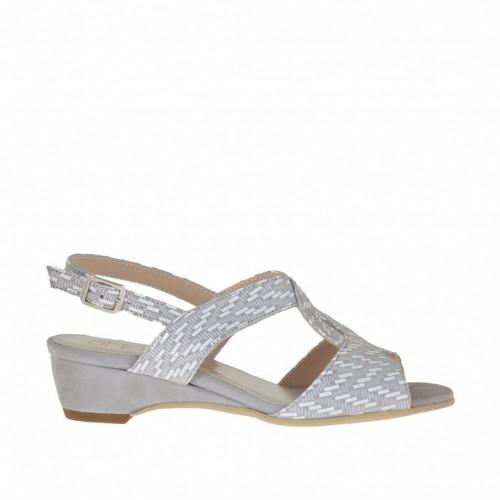 Sandale pour femmes avec talon compensé en daim gris et daim avec blanc impression optique talon compensé 3 - Pointures disponibles:  46