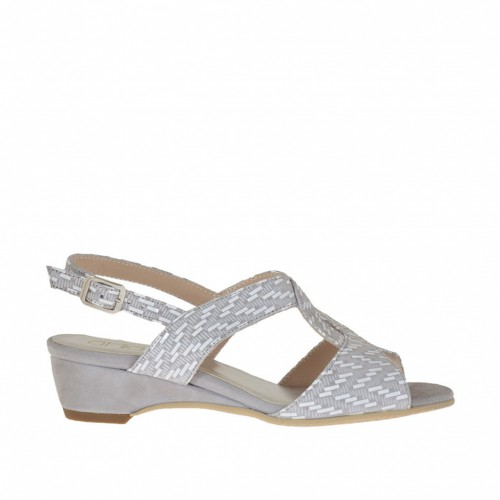 Woman's sandal with wedge in grey suede and suede with white optical printing wedge 3 - Available sizes:  46