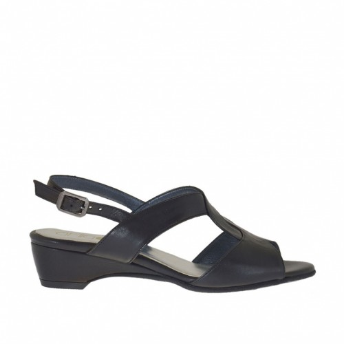 Woman's sandal with wedge in black leather wedge 3 - Available sizes:  33, 44
