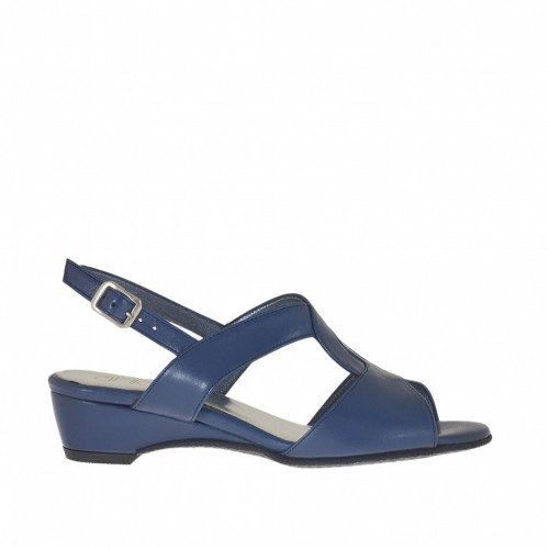 Woman's sandal with wedge in blue leather wedge 3 - Available sizes:  32, 43, 46
