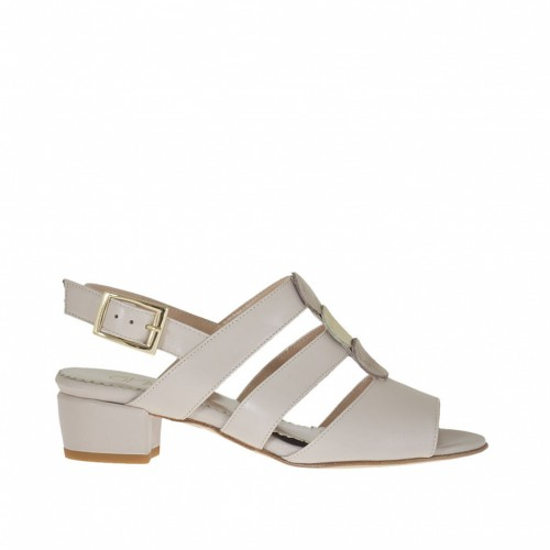 Woman's sandal in beige leather and accessory in leather and nubuck heel 3 - Available sizes:  44