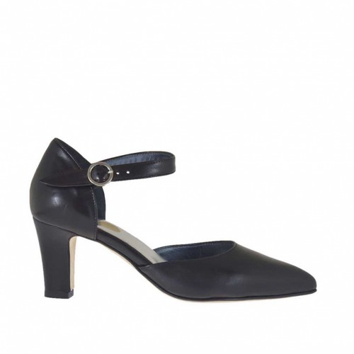 Woman's open shoe with strap in black leather with varnished heel 6 - Available sizes:  43, 46