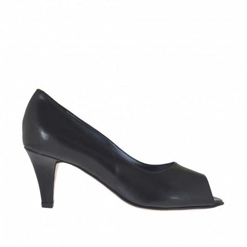 Escarpin pour femmes à bout ouvert en cuir noir talon 6 - Pointures disponibles:  45, 46
