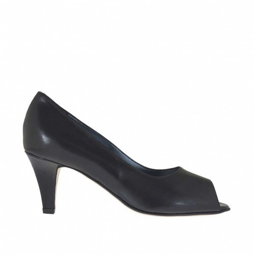 Woman's open toe pump in black leather heel 6 - Available sizes:  45, 46