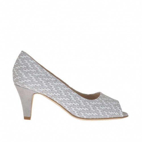 Escarpin ouvert pour femmes en daim gris et imprimé optique géométrique blanc talon 6 - Pointures disponibles:  34, 43, 45