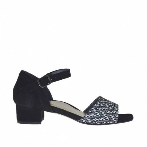 Woman's open strap shoe in black and optical white printed suede heel 3 - Available sizes:  45, 46