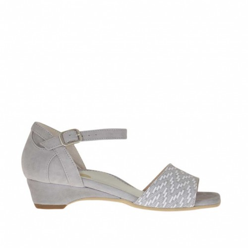 Woman's open strap shoe in grey and optical white printed suede wedge heel 3 - Available sizes:  46