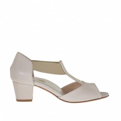 Escarpin ouvert pour femmes avec elastique et goujons en cuir beige talon 4 - Pointures disponibles:  43, 46