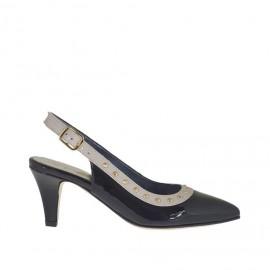 Chanel pour femmes avec goujons dorés en cuir verni noir et cuir beige talon 6 - Pointures disponibles: 46