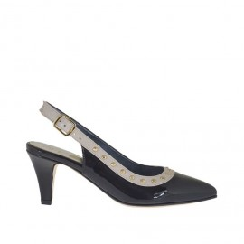 Woman's slingback pump with golden studs in black patent leather and beige leather heel 6 - Available sizes: 46