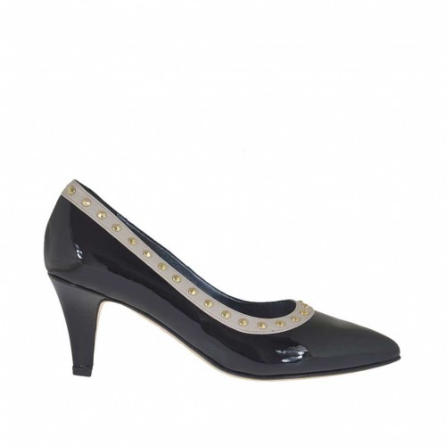 Woman's pump with gold coloured studs in black patent leather and beige leather heel 6 - Available sizes:  31