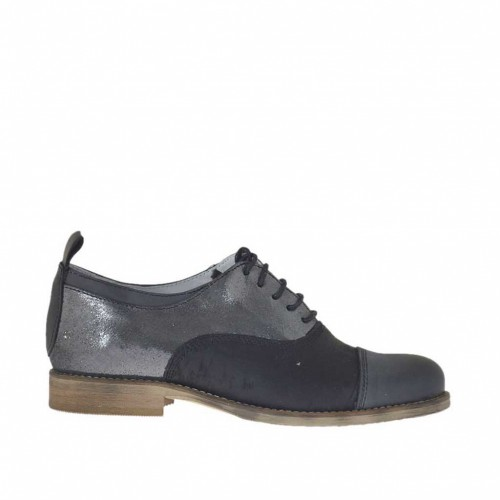 Woman's laced shoe in black and glittery silver leather and black suede heel 2 - Available sizes:  45