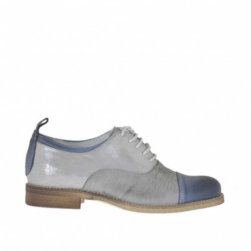 Woman's laced shoe in blue and glittery grey leather and grey suede heel 2 - Available sizes:  43, 45