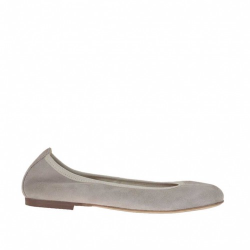 Woman's ballerina in dove grey suede heel 1 - Available sizes:  32, 33