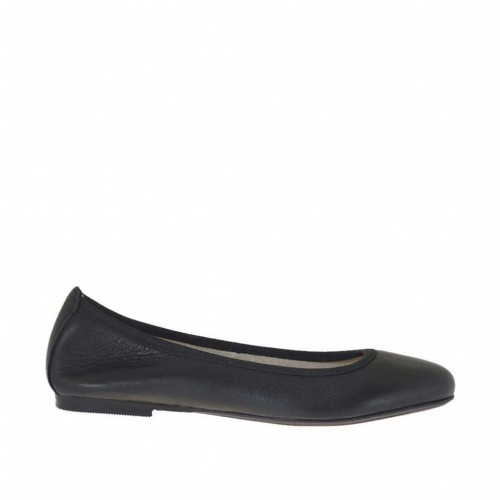 Woman's ballerina shoe in black colored leather heel 1 - Available sizes:  32