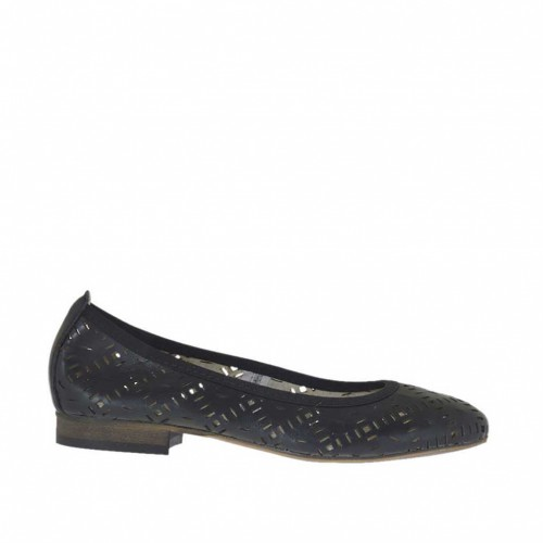 Woman's ballerina shoe in pierced black leather heel 2 - Available sizes:  45