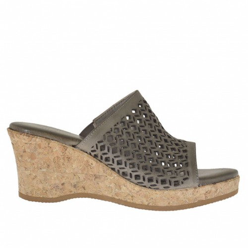 Woman's open mules with elastic band in pierced taupe leather with cork platform and wedge 6 - Available sizes:  42