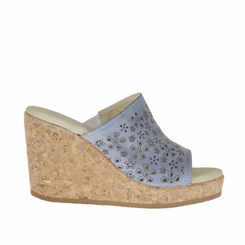 Woman's open mules with elastic band in aviation blue pierced leather with cork platform and wedge 8 - Available sizes:  42